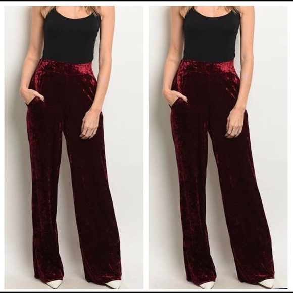 Pants - $50 NWT High Waist Velvet Palazzo Pants